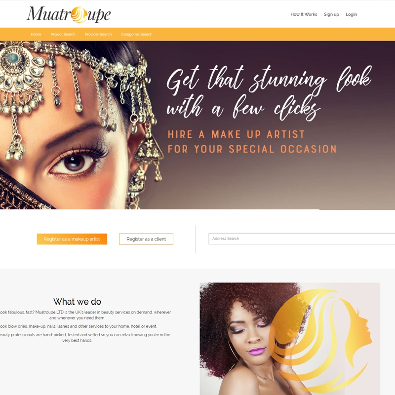 BEAUTY MARKETPLACE WEBSITE DEVELOPMENT