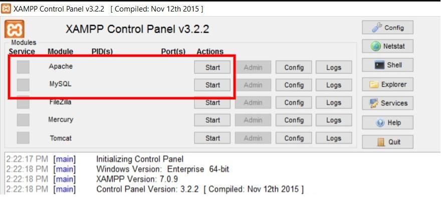 modules on your XAMPP server