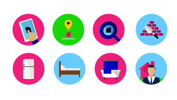 Eight icons representing apps for discovering small local businesses