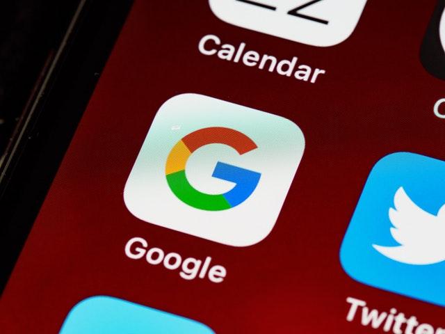 Google app icon on smartphone