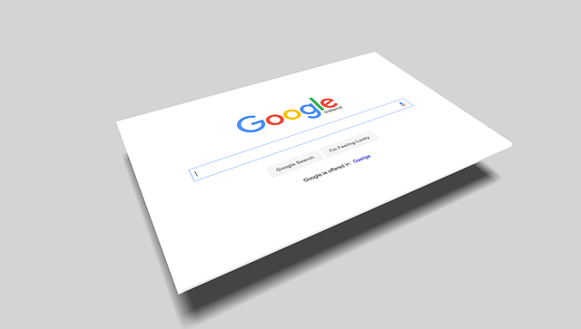 A cardboard photo of Google's search page levitating above the ground.