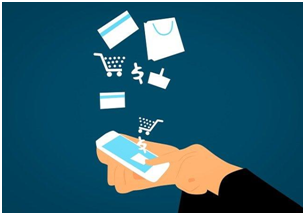 An illustration of a person making online purchases via smartphone.