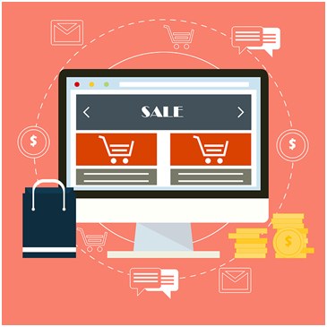 An illustration showing an e-commerce shop and the flow of money from the customer to the company.