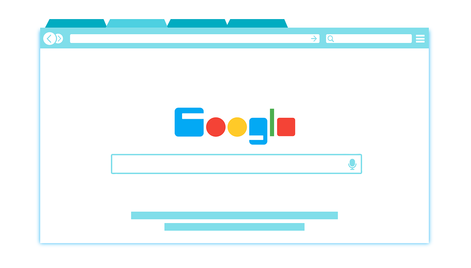 An illustration of a web browser tab displaying Google's search engine